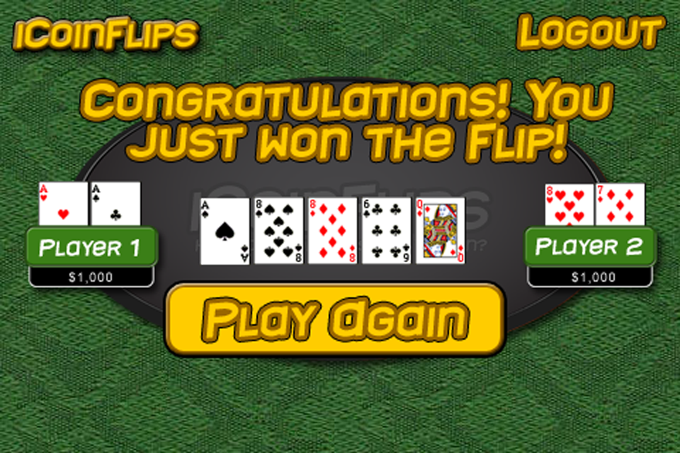Screenshot iCoinFlips – Texas Hold-em Poker Coin Flips